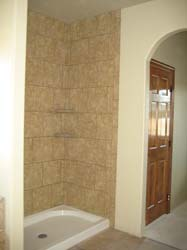 Tiled Shower, Arch to Private Water Closet